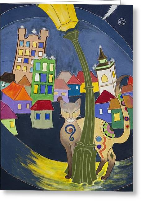 Prague Paintings Greeting Cards - Cat in the City Greeting Card by Kinga Ile