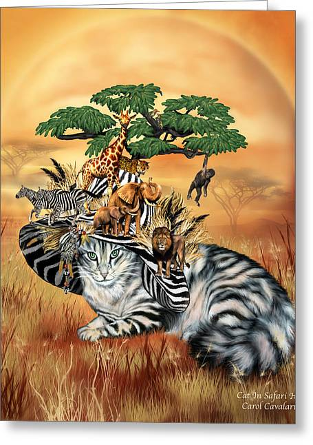 Cat In The Safari Hat Greeting Card by Carol Cavalaris