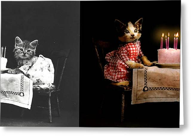 Frosting Greeting Cards - Cat - Its our birthday - 1914 - Side by Side Greeting Card by Mike Savad