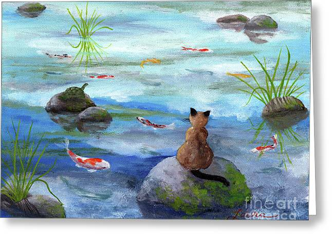 Pond Fish Greeting Cards - Cat Koi and Turtle Among the Cloud Reflections Greeting Card by Laura Iverson