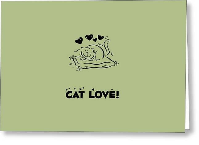 House Pet Greeting Cards - Cat on a Pillow with Hearts and Cat Love Greeting Card by Jelena Ciric