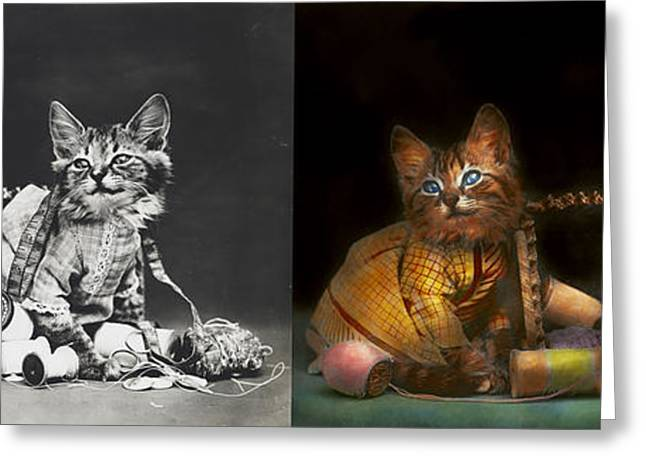 Pairs Greeting Cards - Cat - Mischief makers 1915 - Side by side Greeting Card by Mike Savad