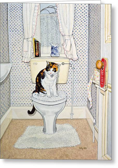Sit-ins Greeting Cards - Cat on the Loo Greeting Card by Ditz