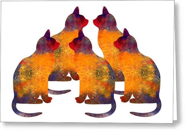 Cat Pyramid Greeting Card by Georgiana Romanovna