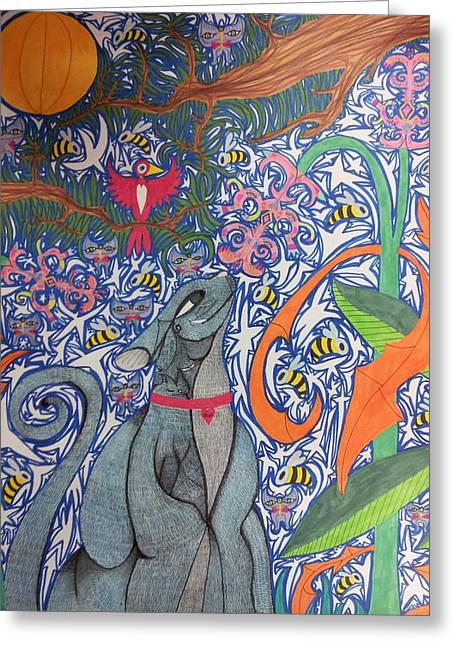 Cat Smelling A Flower 3 Greeting Card by William Douglas