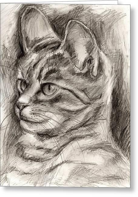 Relaxing Drawings Greeting Cards - Cat study drawing no three Greeting Card by Hiroko Sakai