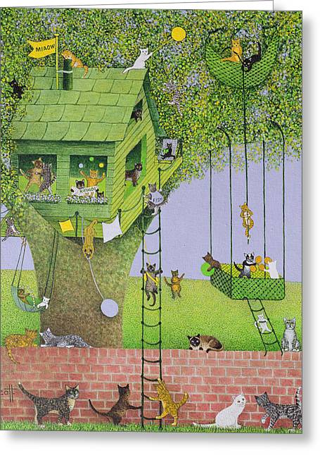 Kids Room Drawings Greeting Cards - Cat Tree House Greeting Card by Pat Scott