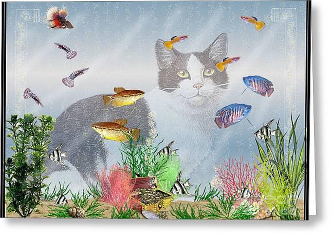 Betta Greeting Cards - Cat Watching Fishtank Greeting Card by Terri Mills