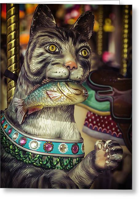 County Fair Greeting Cards - Cat With Fish Carrousel Ride Greeting Card by Garry Gay