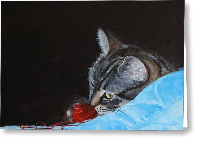 Kitten Prints Greeting Cards - Cat With Red Yarn Greeting Card by Judy Bradley