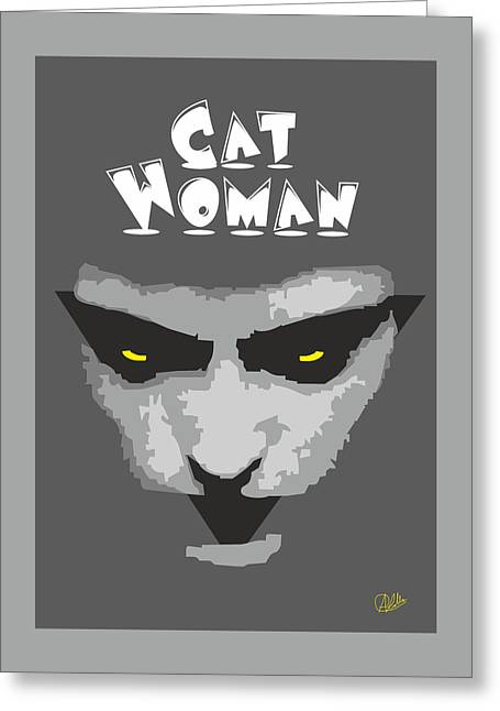 Cat Drawings Greeting Cards - Cat Woman Greeting Card by Joaquin Abella