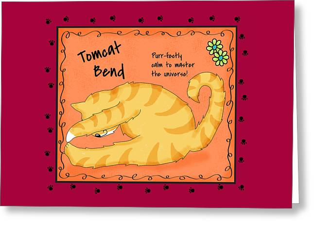 Gold Lime Green Greeting Cards - Cat Yoga Tomcat Bend Greeting Card by Phyllis Dobbs