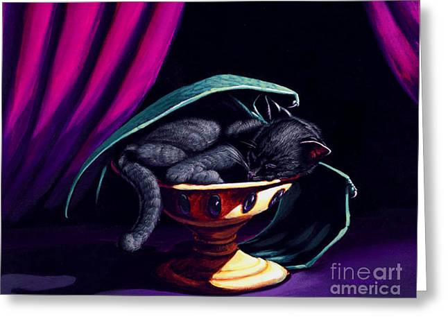 Cat Fantasy Greeting Cards - Catabat Nap Greeting Card by Stanley Morrison
