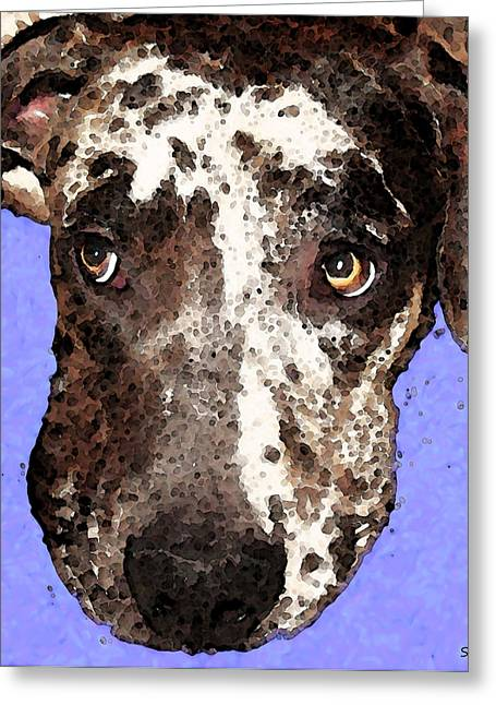 Funny Dog Digital Greeting Cards - Catahoula Leopard Dog - Soulful Eyes Greeting Card by Sharon Cummings