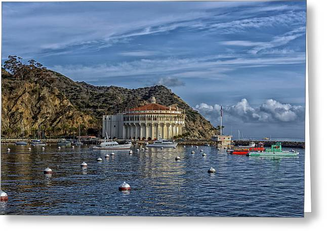 Ocean. Reflection Greeting Cards - Catalina Bay And Casino Greeting Card by Mountain Dreams