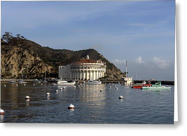 Ocean. Reflection Greeting Cards - Catalina Casino And Bay Greeting Card by Mountain Dreams