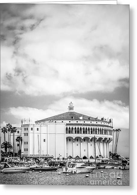 Catalina Casino Black And White Photo Greeting Card by Paul Velgos
