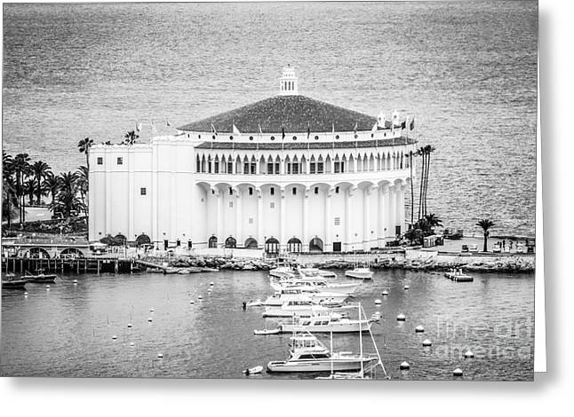 Historical Pictures Greeting Cards - Catalina Casino Picture in Black and White Greeting Card by Paul Velgos