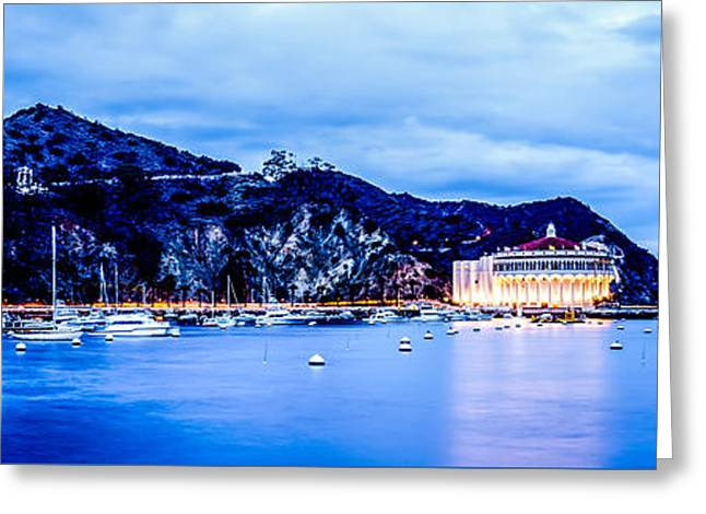 Theater Greeting Cards - Catalina Island at Night Panorama Picture Greeting Card by Paul Velgos