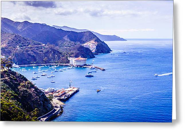 Theater Greeting Cards - Catalina Island Avalon Bay Aerial Panorama Greeting Card by Paul Velgos