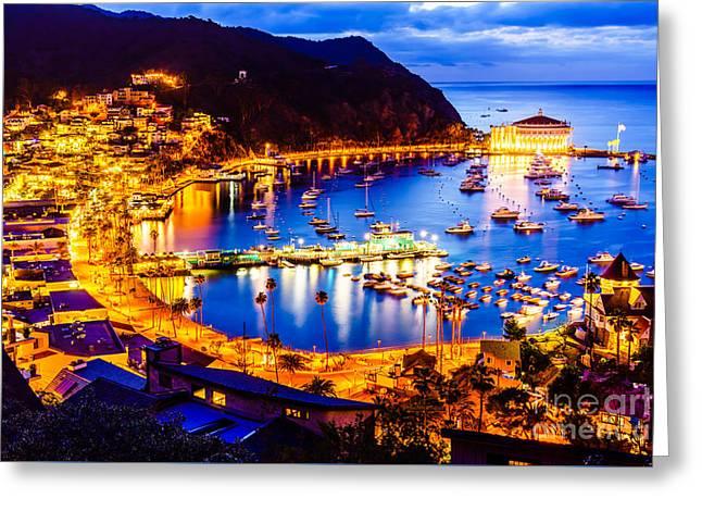 Casino Pier Greeting Cards - Catalina Island Avalon Bay at Night Greeting Card by Paul Velgos