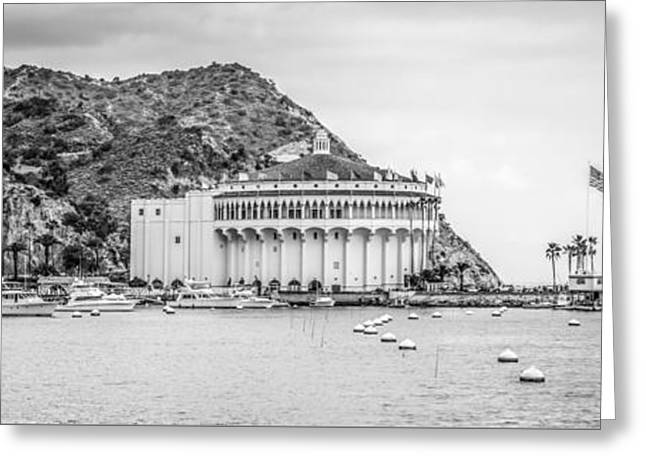 Theater Greeting Cards - Catalina Island Casino Black and White Panorama Photo Greeting Card by Paul Velgos