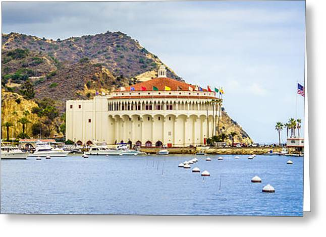 Theater Greeting Cards - Catalina Island Casino Panoramic Picture Greeting Card by Paul Velgos