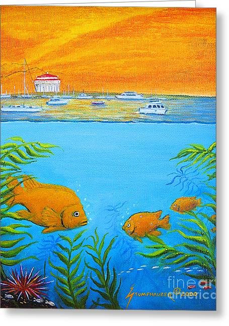 Snorkel Greeting Cards - Catalina Island Cove Greeting Card by Jerome Stumphauzer