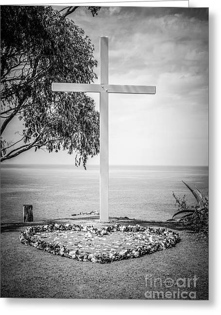 Religious Pictures Greeting Cards - Catalina Island Cross Black and White Photo Greeting Card by Paul Velgos