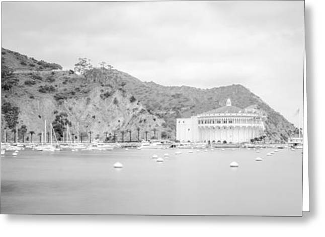 Theater Greeting Cards - Catalina Island Panorama in Black and White  Greeting Card by Paul Velgos