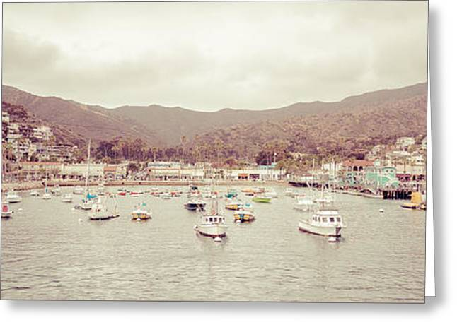 Panoramic Ocean Greeting Cards - Catalina Island Retro Panorama Picture Greeting Card by Paul Velgos