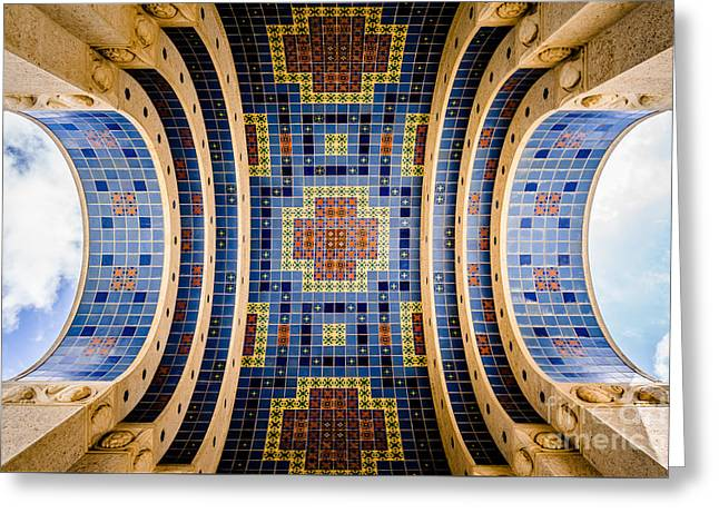 Catalina Island Wrigley Memorial Tiled Ceiling Greeting Card by Paul Velgos