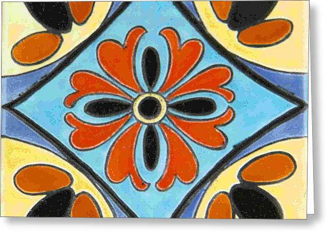 Style Ceramics Greeting Cards - Catalina Tileworks-Style Design Greeting Card by Dy Witt