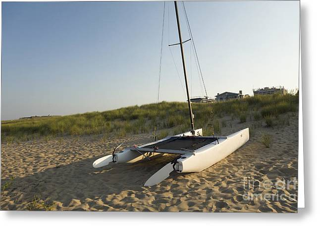 Coastal Dunes Greeting Cards - Catamaran On Beach Greeting Card by Roberto Westbrook