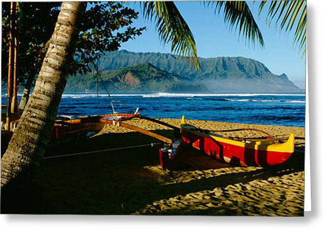 Catamaran On The Beach, Hanalei Bay Greeting Card by Panoramic Images