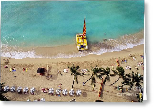 Sunbathing Greeting Cards - Catamaran on Waikiki Beach Greeting Card by Carl Shaneff - Printscapes