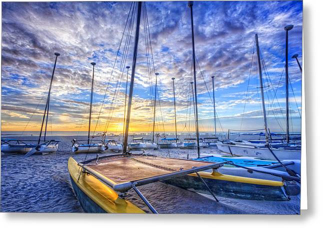 Canoe Greeting Cards - Catamarans at the Sea Greeting Card by Debra and Dave Vanderlaan