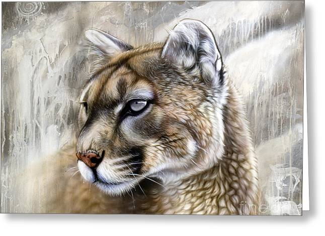 Lion Greeting Cards - Catamount Greeting Card by Sandi Baker