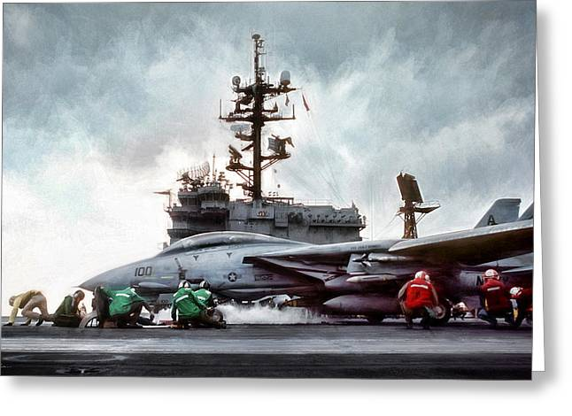 Catapult Crew Greeting Card by Peter Chilelli