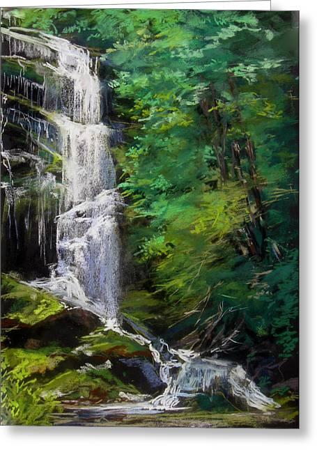 Waterfall Pastels Greeting Cards - Catawba Falls Greeting Card by Robin  Swaby