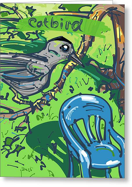 Lawn Chair Drawings Greeting Cards - Catbird Greeting Card by Brett LaGue