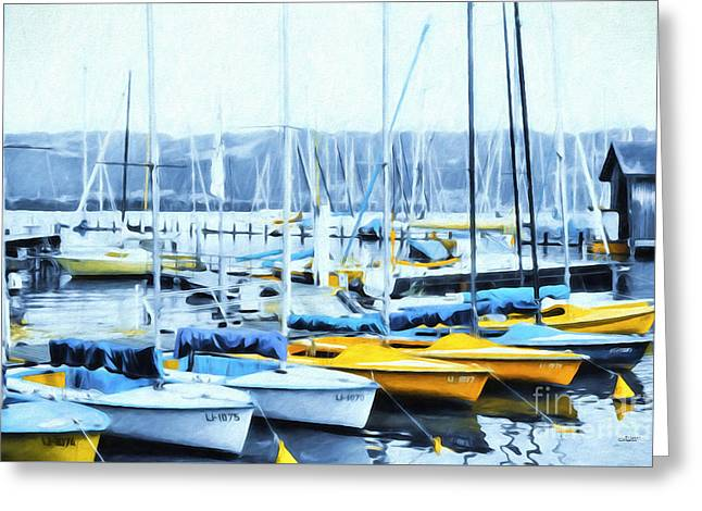 Sailboat Photos Digital Art Greeting Cards - Catboats Greeting Card by Jutta Maria Pusl