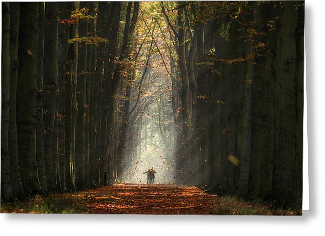 Catch A Leaf Greeting Card by Martin Podt