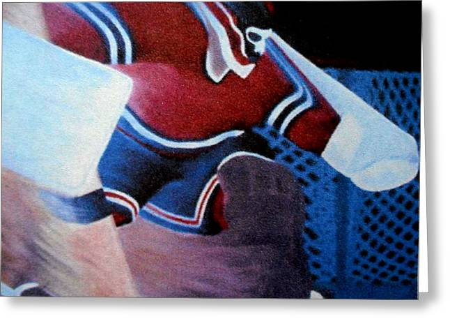 Hockey Paintings Greeting Cards - Catch Glove Save Greeting Card by Ken  Yackel