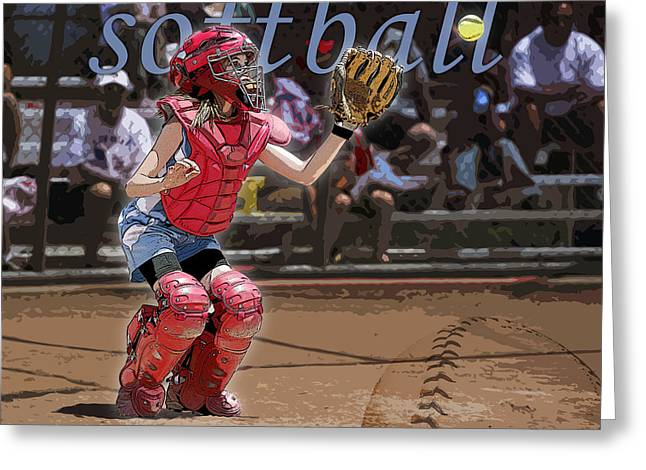 Girls Softball Greeting Cards - Catch It Greeting Card by Kelley King
