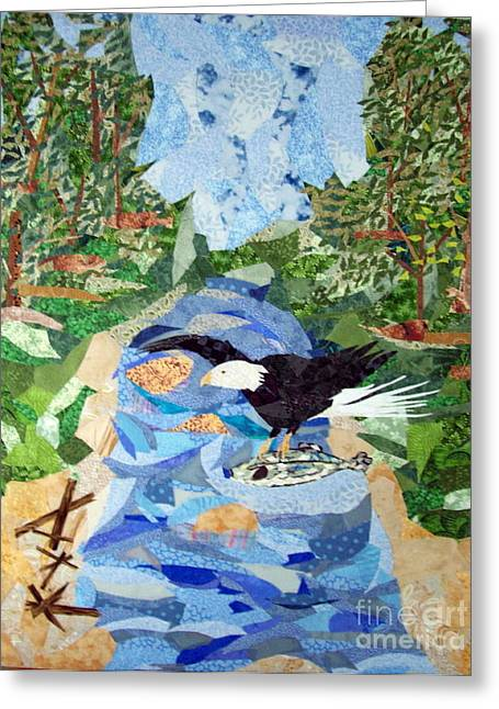 Eagle Tapestries - Textiles Greeting Cards - Catch of the Day Greeting Card by Charlene White
