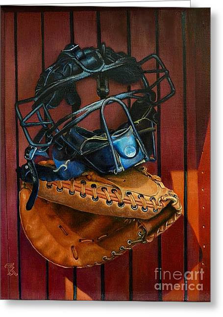 Softball Paintings Greeting Cards - Catcher mask and mitt Greeting Card by Ralph Taeger