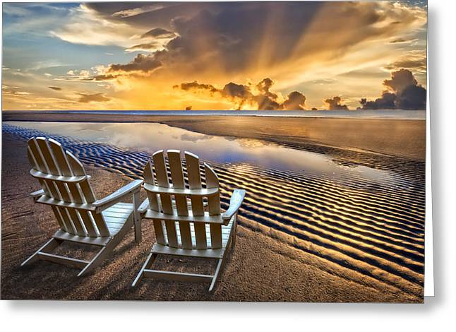 Adirondack Chairs On The Beach Greeting Cards - Catching the Dawn Greeting Card by Debra and Dave Vanderlaan