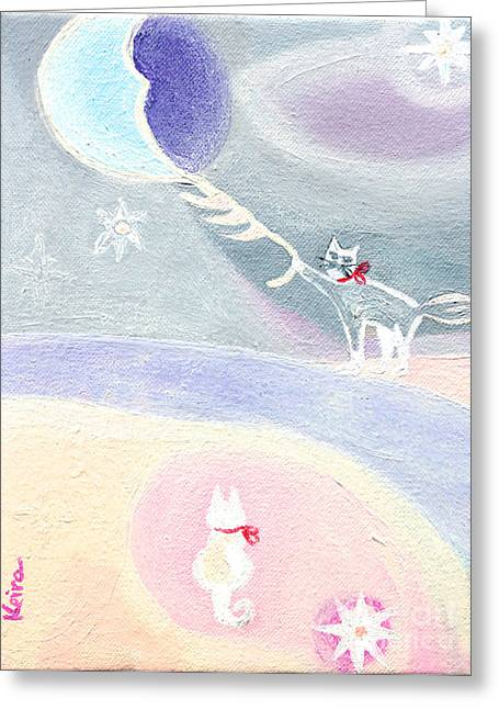 Love The Animal Greeting Cards - Catching the moon for you Greeting Card by Keira  Lagunas