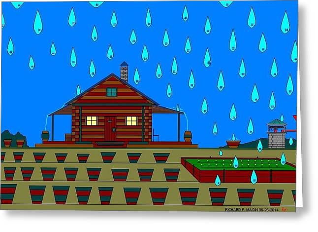 Etc. Paintings Greeting Cards - Catching The Rain. Greeting Card by Richard Magin